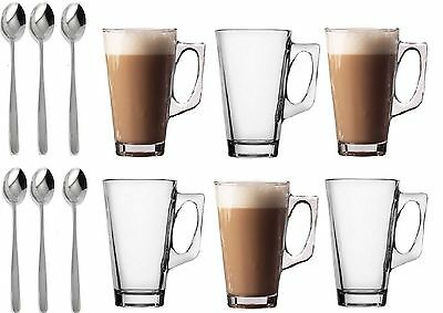 6x240ml Glass Cups Mugs for Coffee Tea Latte Cappucino &Spoon high quality glass