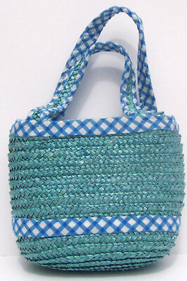 Small Toddler Girl Blue Straw Handbag - Zipper Closure - Fully Lined - New