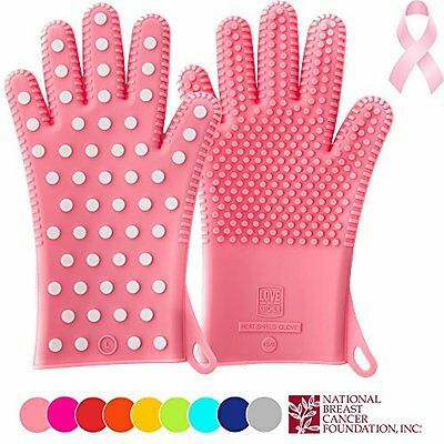New For 2016: Heavy-Duty Women's Silicone Oven Mitts - PINK Special Edition