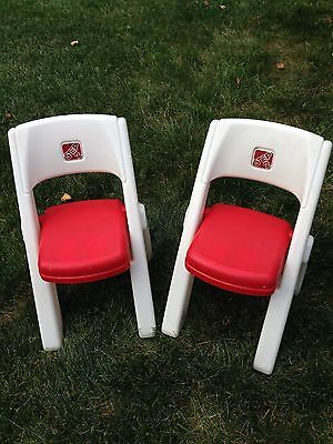 Folding Chairs - Set of 2 - for Pretend Play Table Desk Little Tikes GUC