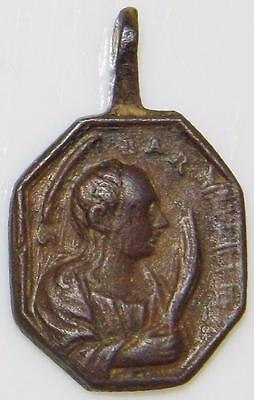 St. Barbara & Miracle of the HOLY Sacrament of Eucharist Medieval Bronze MEDAL