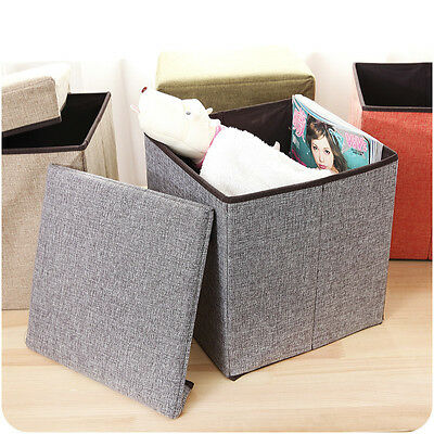 Large Folding Storage Single Seat Stool STORAGE Box New