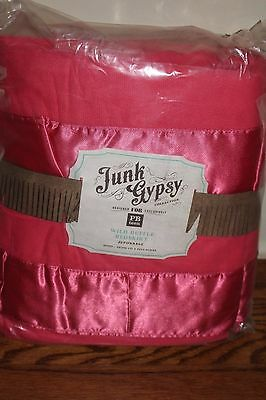NWT Pottery Barn PB Teen Kids Junk Gypsy wild ruffle queen bed skirt hot pink