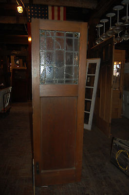 """Vintage Arts/craft   Oak 25"""" Leaded Glass Door From Cleveland,oh  2 Availablle"""