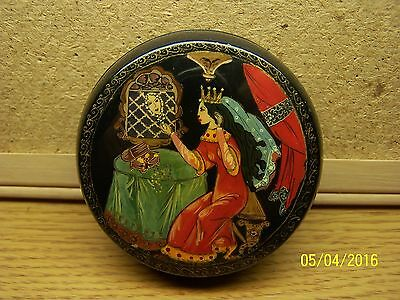 Vintage Russian USSR Hand Painted Fairy Tail  Laquer Trinket Box Artist Signed