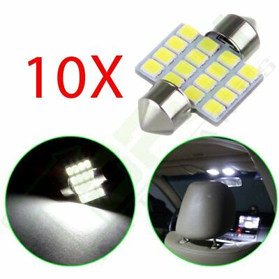 10x White 31mm Festoon Car LED Interior Lights Dome Map 16SMD Epistar LED Bulbs