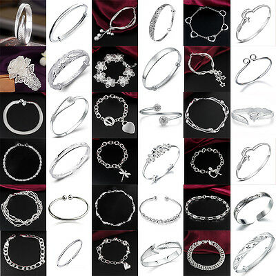 Fashion Women 925 Silver Sterling Plated Bracelet Jewelry Crystal Lady Bangle