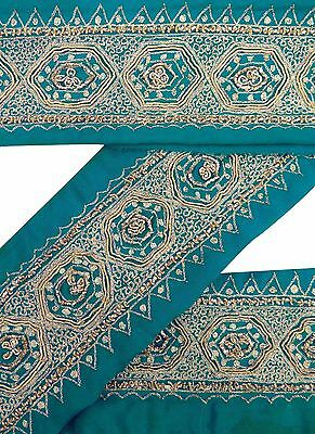 Vintage Sari Border Antique Used Hand Beaded Indian Trim Blue Ribbon Lace 1YD