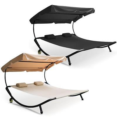 Double Sun Lounger Bed Garden Patio Day bed for Outdoor Relaxing Beige & Black