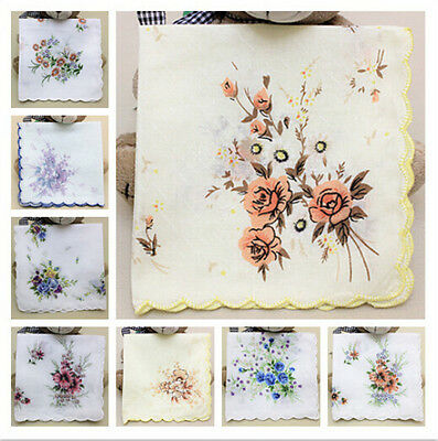 Cotton Flower Vintage Women Ladies Lot Handkerchiefs Quadrate Hankies