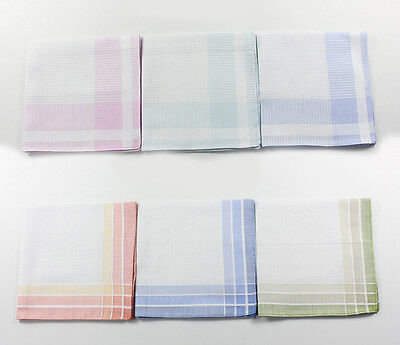 Women Ladies Cotton Stripe Stain Lot Handkerchiefs Quadrate Hankies