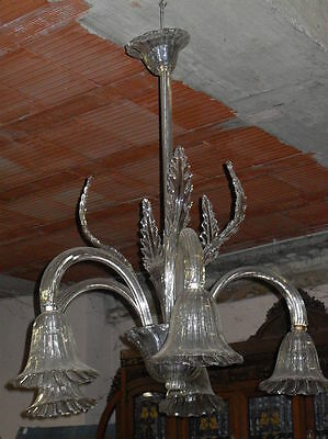 Antique Italian Murano Glass Chandelier, 5 arms