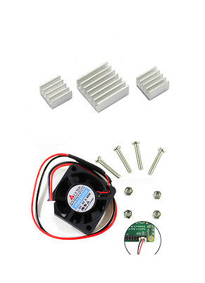New Cooling Kit 3pcs Adhesive Aluminum Heatsink + Fan for Raspberry Pi 3