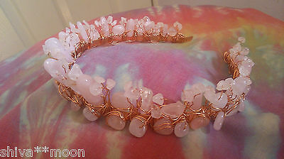 Rose Quartz Copper Tiara Headdress Hippy Wedding Hand Fasting Prom  Wow