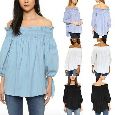 Womens Ladies Off Shoulder Boho Tops Long Sleeve Blouse Tee Shirt Plus Size 8-22