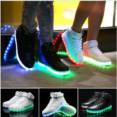 NEW 2016 High Top Sports Shoes Led Light Lace Up sneaker Luminous Casual Shoes