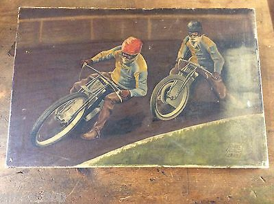 Original Speedway Oil painting Harringay Racers 1935 London Cup winners Signed.