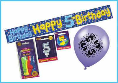 Boys 5Th Birthday Party Pack Decoration - Banner Balloons Badge Number Candle