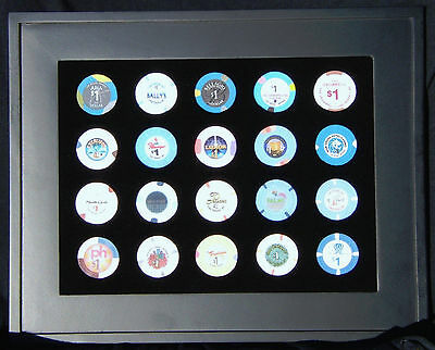 Las Vegas, NV, Strip $1 Casino Chip Set Collection in Black Wood Quality Frame