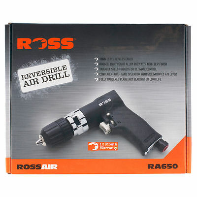 Ross REVERSIBLE AIR DRILL with 10mm Keyless Chuck RA650 Light Weight Alloy Body