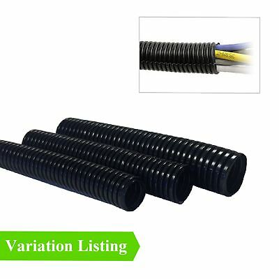Black Non Split Conduit / Convoluted Flexible Trunking Tube Wiring Loom Cable