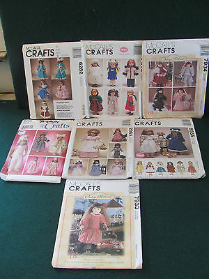 6 Mccall's & 1 Simplicity Crafts Doll Sewing Patterns / Mostly Cut