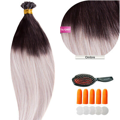 Keratin Bonding (#1b/Grey Ombre) Hair Extensions 100% Remy Echthaar