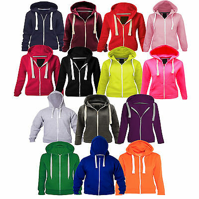 Unisex Plain Fleece Kids Zip Hoodie Girls Boys Hoodies Top Sweatshirt 1-13 Years