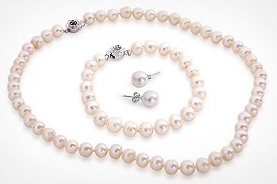 White Semi-Baroque Freshwater Pearl Jewellery Necklace, Bracelet & Ear Ring Set