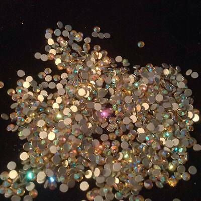 Genuine Crystal Gems Peach AB Multi Coloured Rhinestone Flatback Nail Art Design