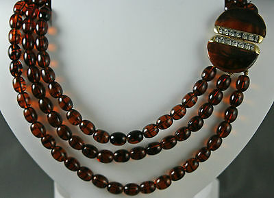 Triple Strand Glass Bead Necklace Root Beer Deco Style Clasp Clear Rhinestone