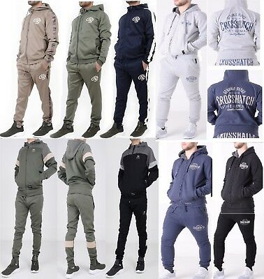 New Mens Crosshatch FULL tracksuit Jogger Jogging Fleece Trousers Pants Gym S-XL