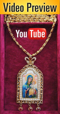 Orthodox Panagia Gold Plated Zircon Hand Painted Bishop Icon Fadeless color