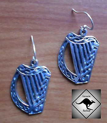 CELTIC HARP  Earrings  Pewter & .925 Sterling Silver Wires.Irish, Pagan,Guinness