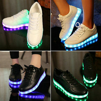 Unisex 2016 LED Light Lace Up Luminous Sportswear Sneaker Men Women Casual Shoes