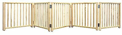 Pet Indoor Fence Wood Folding 5 Panel Dog Cat Gate Free Standing Portable Room