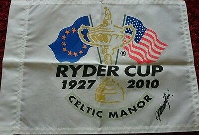 Colin montgomerie signed ryder cup 2010 pin flag / COA