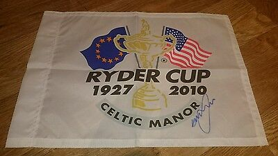 Greame Mcdowell signed ryder cup 2010 pin flag and photo / COA