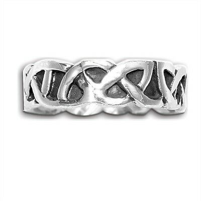 Sterling Silver Celtic Weave Design Ring Band New