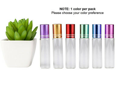 Aromatherapy Bottles Glass*5 x 10ml*Coloured*Metal Roller*Essential Oil*Perfume