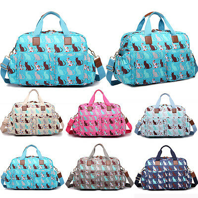 4pcs Mummy Baby Nappy Diaper Changing Maternity Bag Set Wipe Clean Cat Patterned