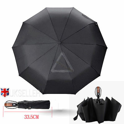 Premium Fiberglass Windproof Vented Auto Open & Close Mens Ladies Black Umbrella