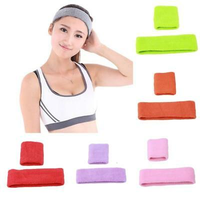 1 Set Unisex Sports Sweatbands Head Band Wrist Bands Gym Cycling Sweat Bands N7