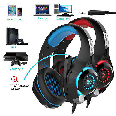 Gaming Over-Ear Headphone Headset With Mic LED Light For PC PS4 Xbox one Tablet