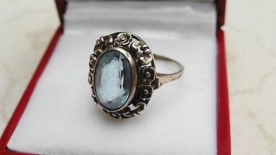 Vintage sterling silver ring with blue aquamarine stone size J