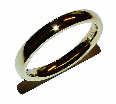 Stamped 925 Sterling Silver & Gold Plated 3mm Wedding Band Ring - UK Size: L 1/2