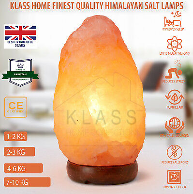Natural Ionising Himalayan Pink Rock Crystal Salt Night Desk Lamp UK plug cable