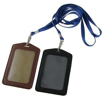 FP New 2 Pcs Faux Leather Busine ID Badge Card Vertical Holders Black Brown