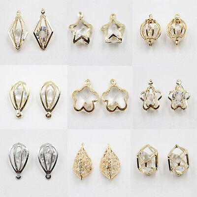 10Pcs Gold/Silver Plated Hollow Out Crystal Beads Charm Pendant Fit Necklace DIY