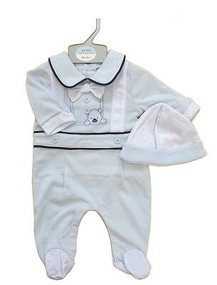 Baby Boy all in one romper playsuit babygro sleepsuit hat set outfit NB-3 Mths